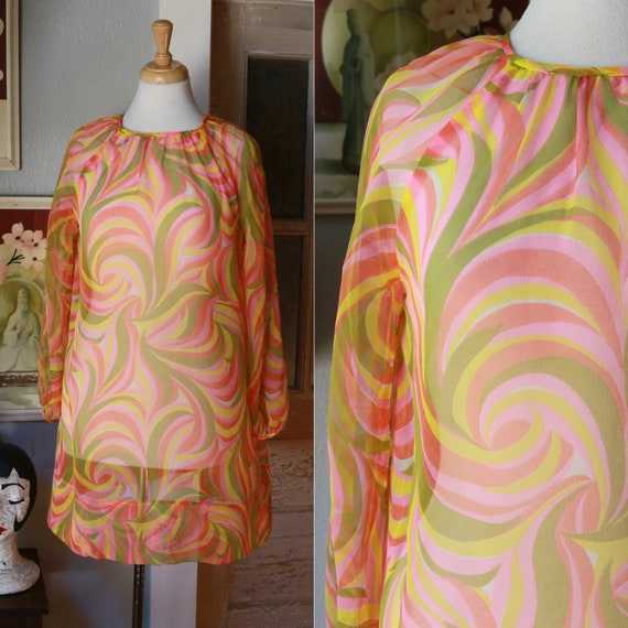 1960's psychedelic swirl sheer mini dress