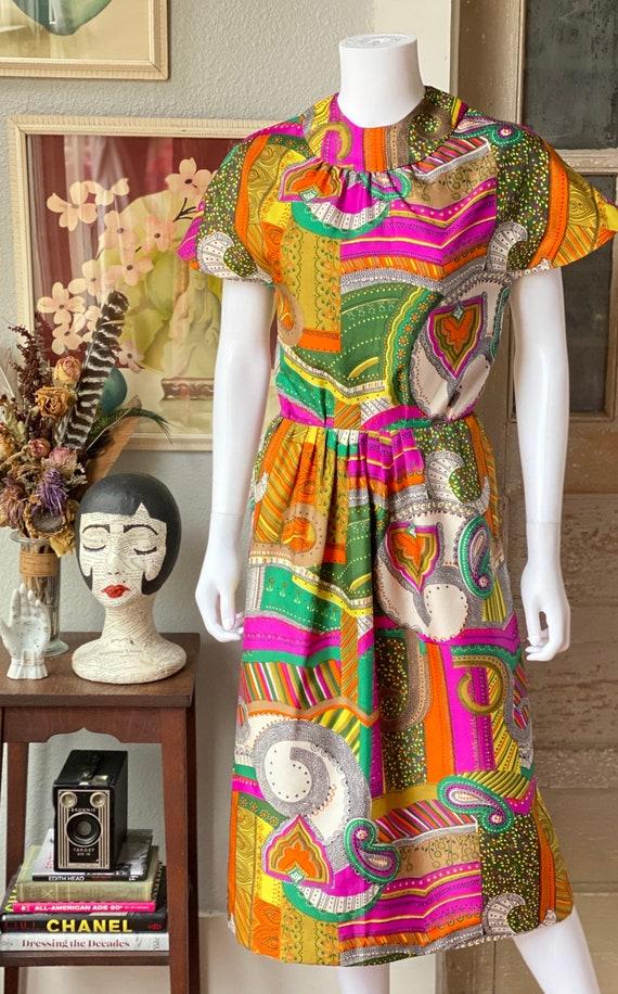Vintage 1960's psychedelic print dress - image 2