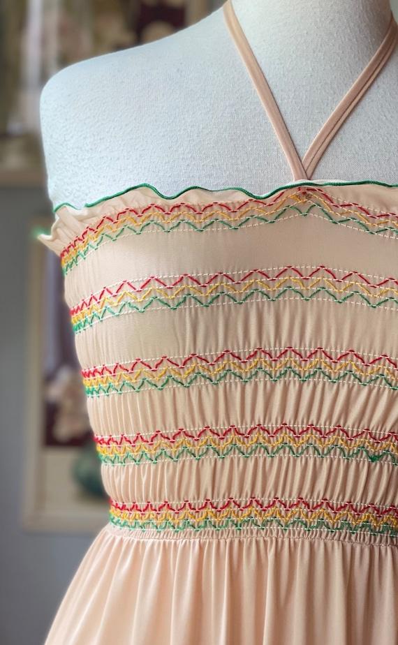 1970's vintage tie neck smocked top nightgown - image 3