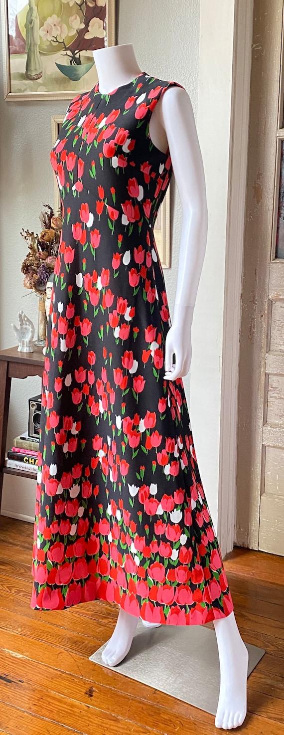 1970's Emilio Borghese tulip print maxi dress - image 4