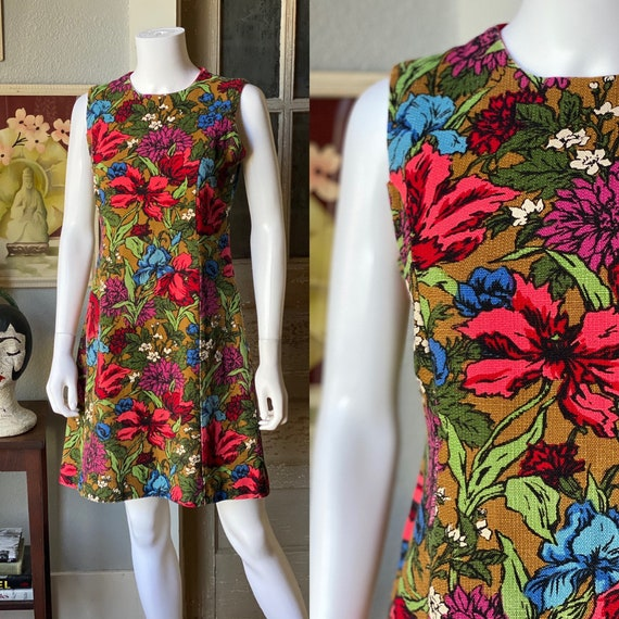 1960's floral barkcloth mini dress