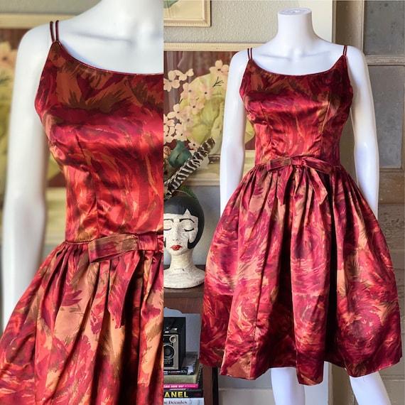 Vintage 1950's satin watercolor rose print dress - image 1