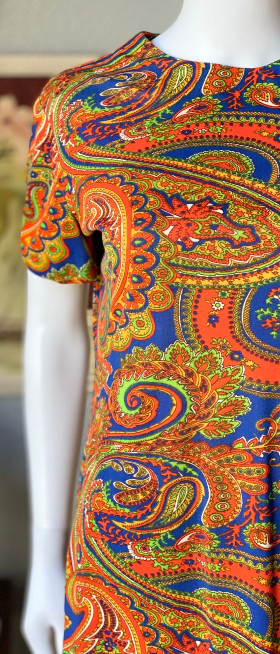 Vintage 1960's paisley print psychedelic hostess … - image 3