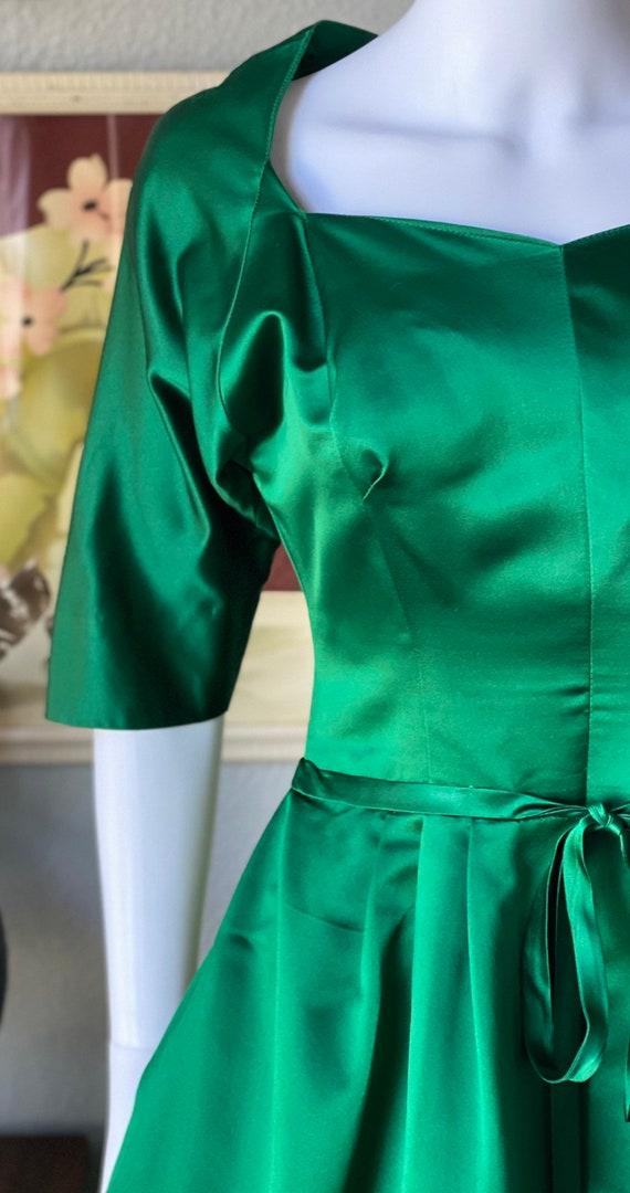 1950's vintage green satin Pauline Trigere dress - image 3