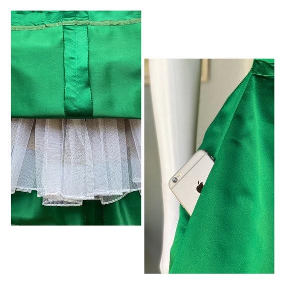 1950's vintage green satin Pauline Trigere dress - image 8