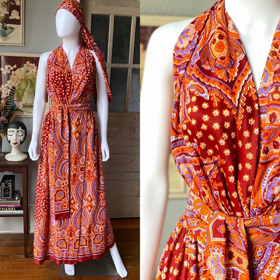 Vintage 1970's bohemian halter top and wrap skirt