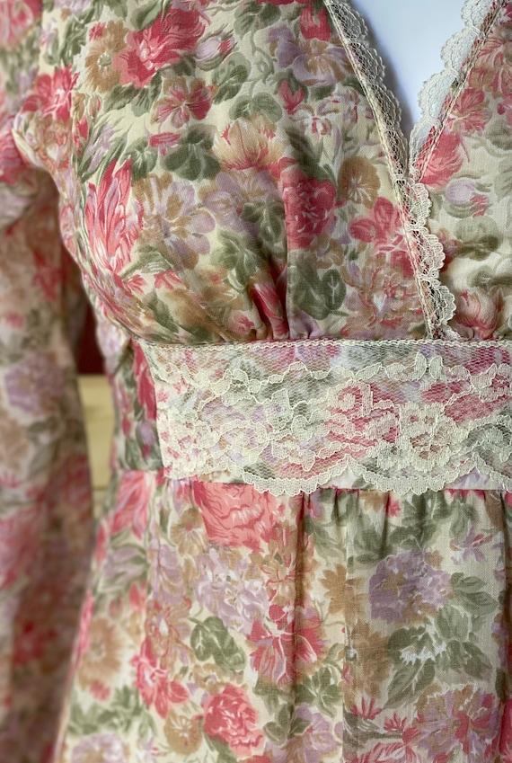 Vintage 1970's floral Gunne Sax style prairie dre… - image 6