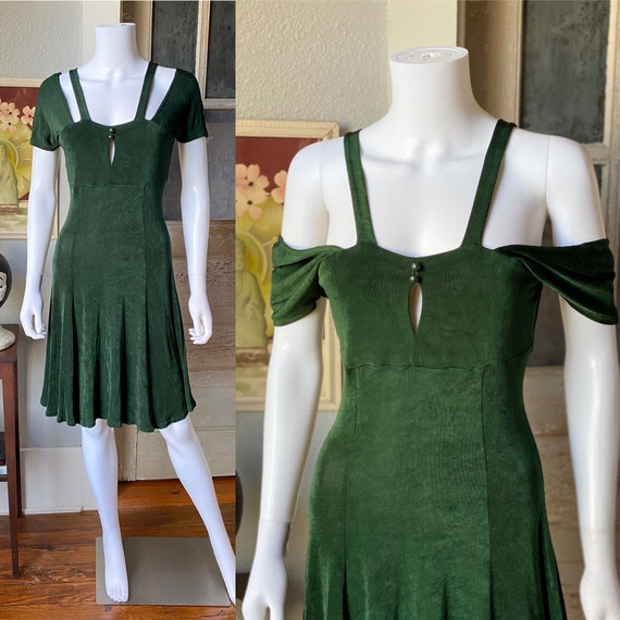1990's forest green dress by Judy's