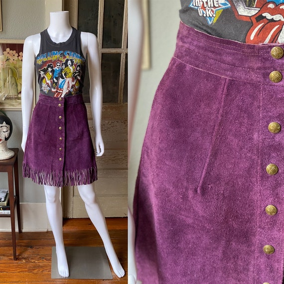 1960's Trego's Westwear purple suede button front