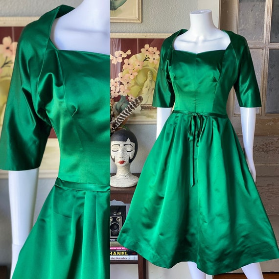 1950's vintage green satin Pauline Trigere dress - image 1