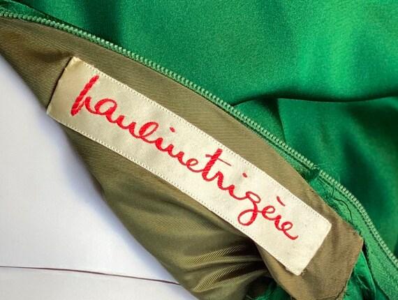 1950's vintage green satin Pauline Trigere dress - image 9