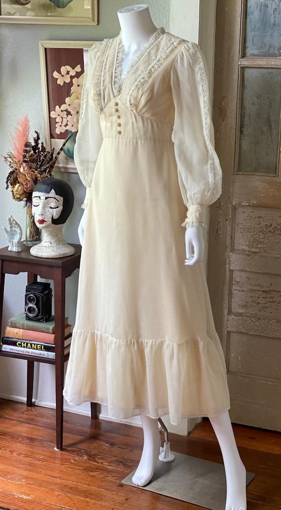 Vintage 1970's cream cotton prairie dress/Gunne S… - image 4