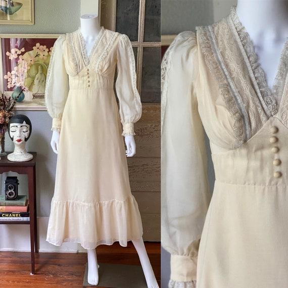 Vintage 1970's cream cotton prairie dress/Gunne S… - image 1