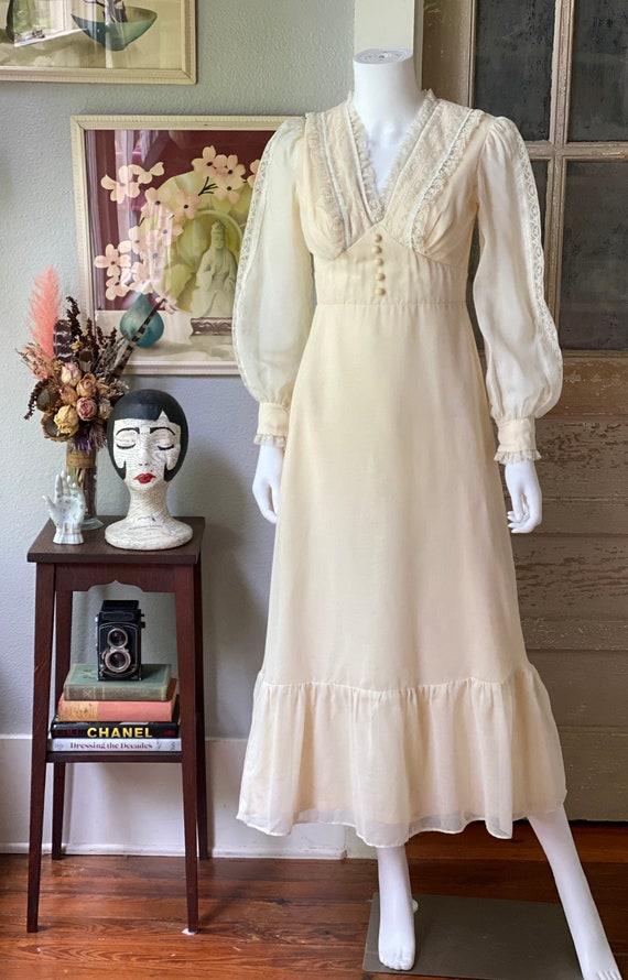 Vintage 1970's cream cotton prairie dress/Gunne S… - image 2