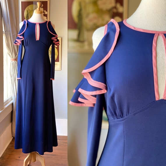 1970's cold shoulder maxi dress Ossie Clark style