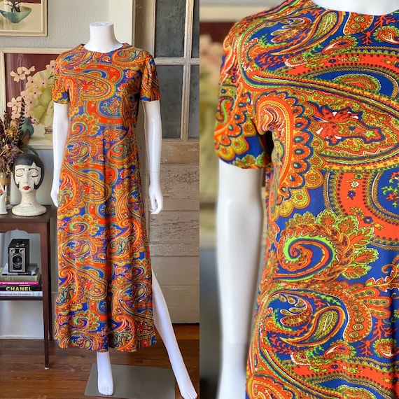 Vintage 1960's paisley print psychedelic hostess … - image 1