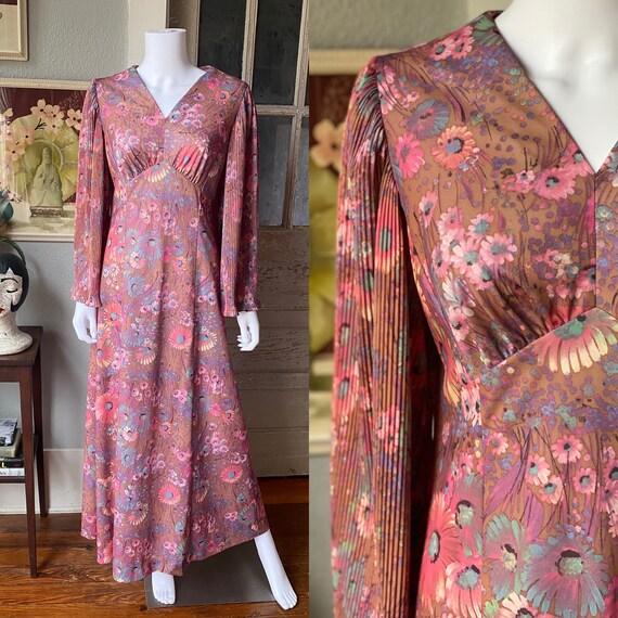 1970's novelty print maxi dress - image 1