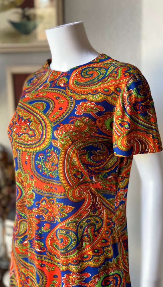 Vintage 1960's paisley print psychedelic hostess … - image 5