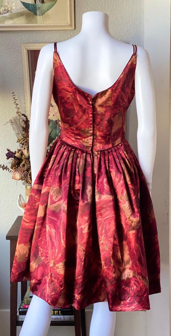 Vintage 1950's satin watercolor rose print dress - image 7