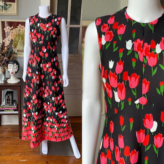 1970's Emilio Borghese tulip print maxi dress - image 1