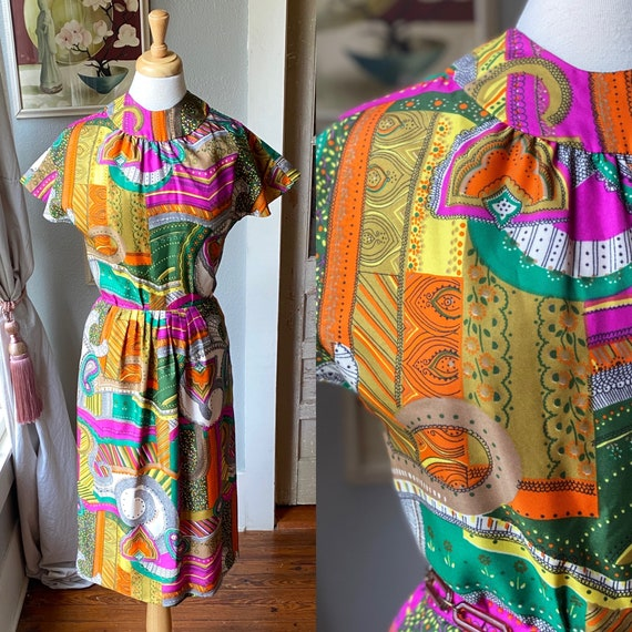 1960's psychedelic print dress