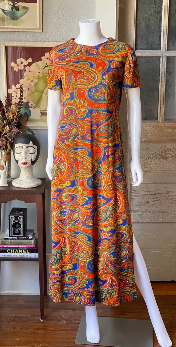 Vintage 1960's paisley print psychedelic hostess … - image 2