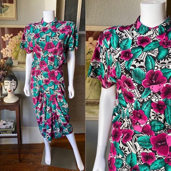 1980's does 40's hibiscus print dress by April Rai