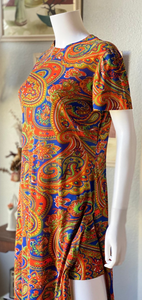 Vintage 1960's paisley print psychedelic hostess … - image 4