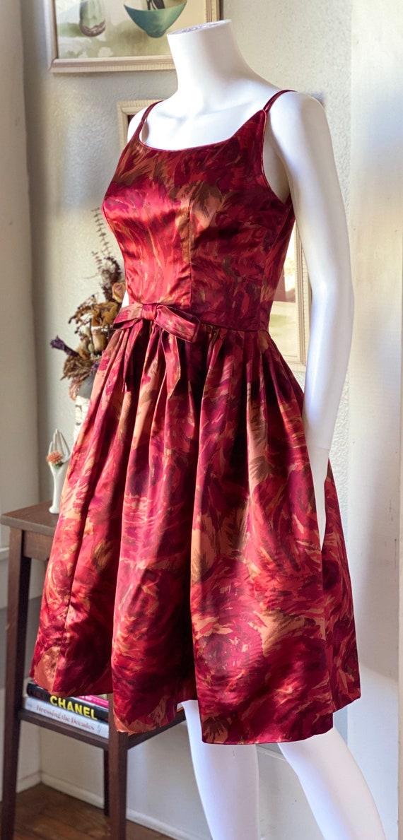 Vintage 1950's satin watercolor rose print dress - image 4