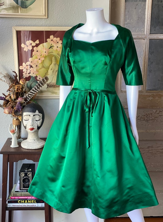 1950's vintage green satin Pauline Trigere dress - image 2
