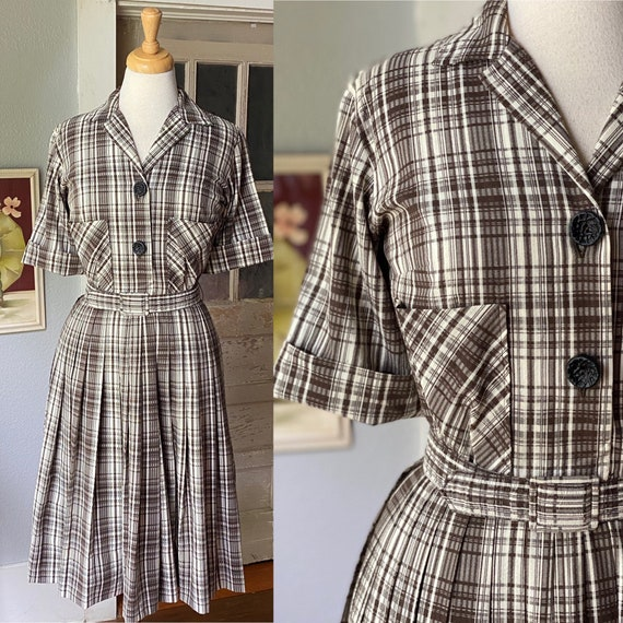 1950's Norman Wiatt seersucker cotton day dress/sh