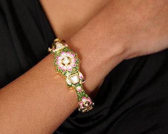 Colorful Gemstone Bracelet, Gold Kundan Floral Bracelet, Enamel Meenakari Bangle, Indian Jewelry, Wedding Bracelet, Gold Jadau Bracelet