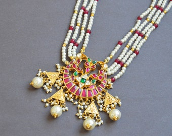 Ruby & Emerald Necklace, Gold Kundan Jewelry, Chand Necklace, Rani Haar, White Pearl Multistrand Necklace, Indian Wedding Bridal Necklace