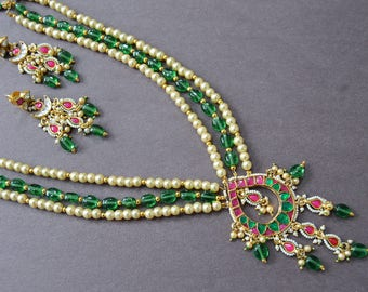 Ruby & Emerald Necklace, Kundan Jewelry Set, Chand Necklace, Rani Haar, South Sea Pearl Necklace, Indian Jewelry, Statement Bridal Necklace