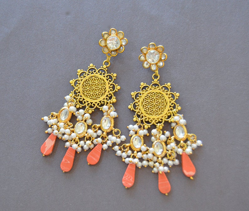 5843ed82cb98d Peach Coral Kundan Earrings, White Pearl Dangle Earrings, Gold Kundan  Earrings, Gold Filigree Earrings, Indian Jewelry, Statement Earrings