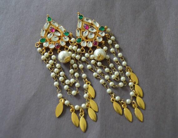 Gold Moon Amethyst Earrings  Fringe Statement Earrings  Gold Statement Earrings  Extra Long Earrings  Chevron Amethyst Earrings