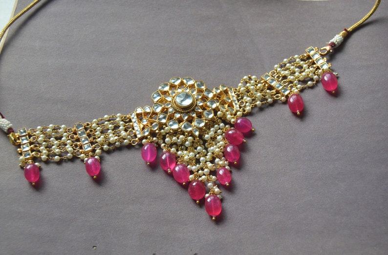 86349440726d8 Gold Kundan Ruby Choker, Pink ruby Drop Earrings, White Seed Pearl Drop  Necklace, Kundan Choker Set, Indian Wedding Jewelry, Bridal Necklace