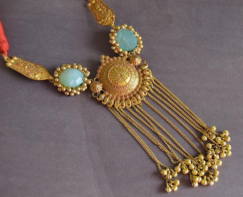 Gold Boho Statement Necklace Antique Gold Tassel Necklace Blue Quartz Necklace Indian Jewelry GoldTribal Necklace Gold Lotus Necklace