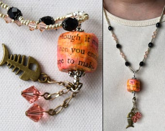 Repurposed Book Art Necklace, Necklace with Sass and Humor, Fish Charm and Crystals, Repurposed Book Jewelry, Art Jewelry for Book Lover