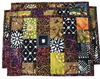 Earth Tones Batik and Tie Dye Placemats, Set of Four Luxurious Quilted Placemats, Tropical Table Setting, Black and White with Jewel Tones
