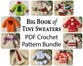 Sweater Ornament Crochet Pattern, PDF, Crochet Sweater Ornament Tutorial, How to Crochet Tiny Sweaters, Easy Beginner Crochet Pattern Bundle