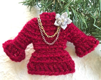 Sweater Ornament, Miniature Crochet Sweater in Red with Metallic Red, Gold and Silver Chains and Flower Pin, Ugly Sweater Christmas Ornament