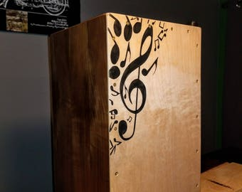 BCW Custom Hand Painted Cajon w/ Musical Note Theme