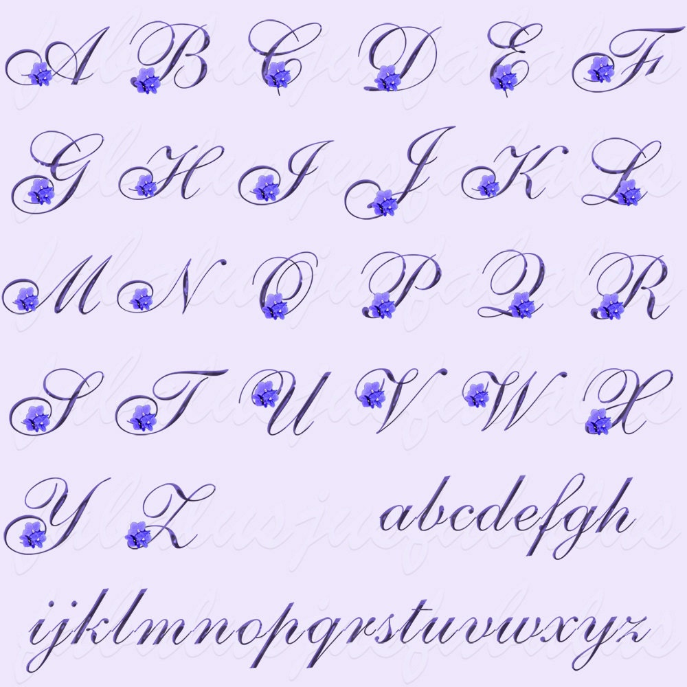 Alphabet Letters Numbers February Birthday Flower Violet Etsy