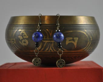 Lapis Lazuli earrings, Bronze earrings, Asian earrings, Dangle earrings
