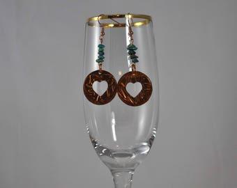 Heart earrings, Copper earrings, Turquoise earrings, Dangle earrings