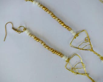 The Goldenrod handmade earrings wire wrap and glass beads