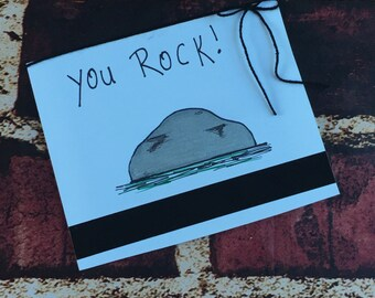 You rock greeting card, handmade