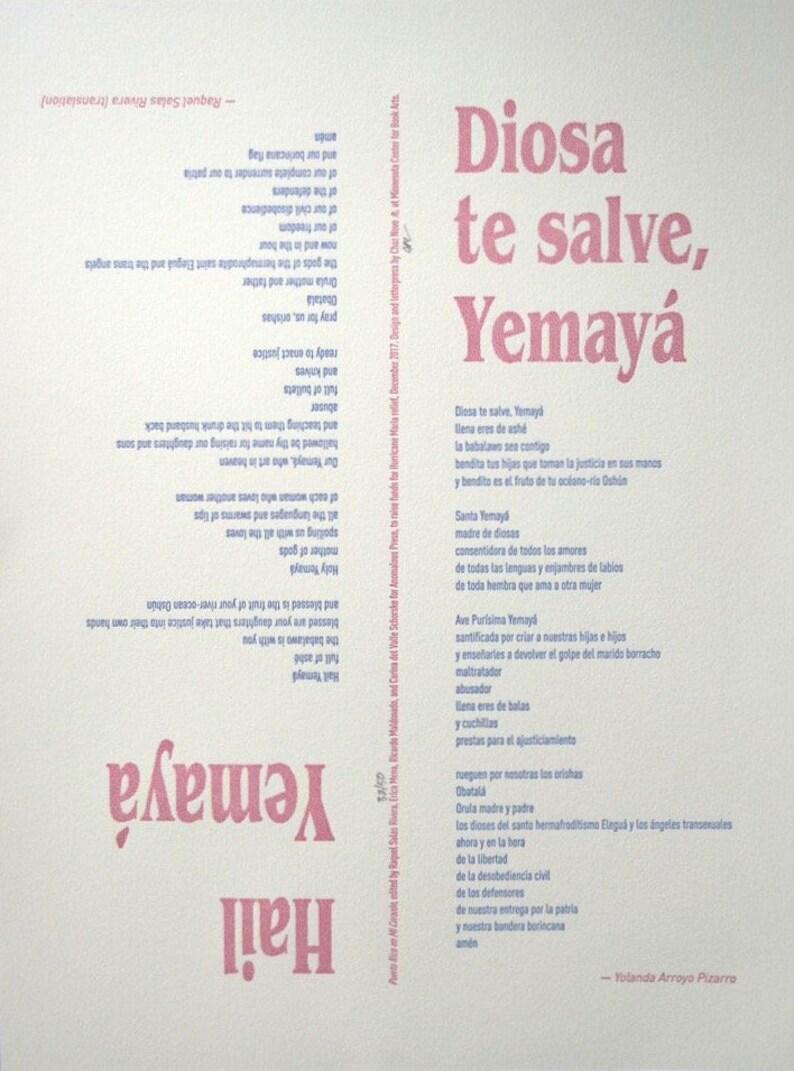 Diosa Te Salve, Yemayá by Yolanda Arroyo Pizarro/Hail Yemayá by Raquel  Solas Rivera (translation)