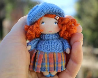 Tiny fabric small cloth art cute mini pocket doll gift for her, rag doll, textile dollhouse miniature accessory doll